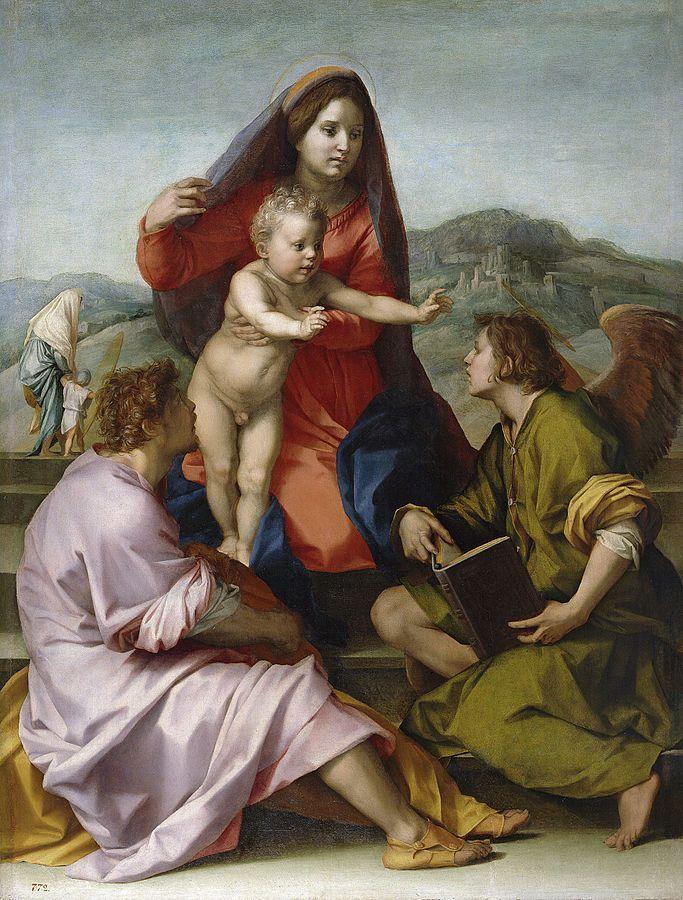 Andrea del Sarto - La Virgen con el Niño entre San Mateo y un ángel, 1522, Museo del Prado.