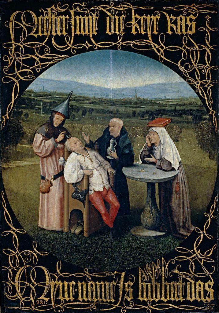 El Bosco, Extracción de la piedra de la locura, c. 1490, Museo del Prado, Madrid.