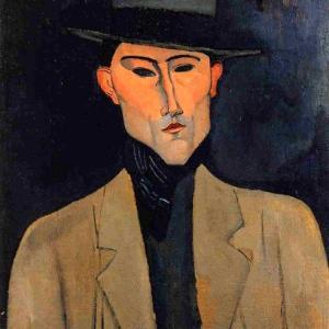 Modigliani - Retrato de caballero con sombrero, 1915, Colección Privada.