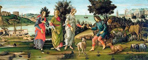 Botticelli, Juicio de Paris, 1485, Galleria Cini.
