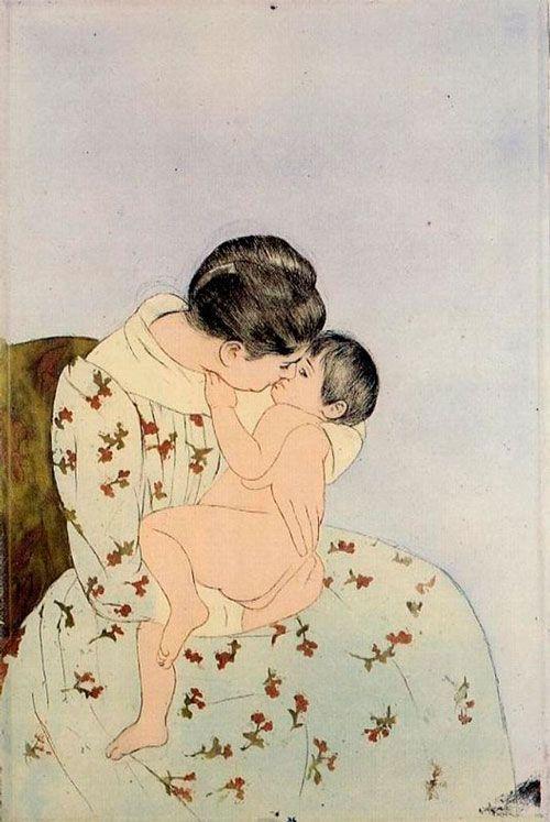 Mary Cassatt, El beso de la madre, 1891. Técnica del grabado