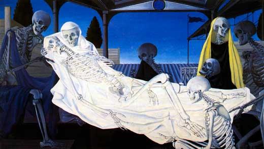 Paul Delvaux, Entierro, 1951.