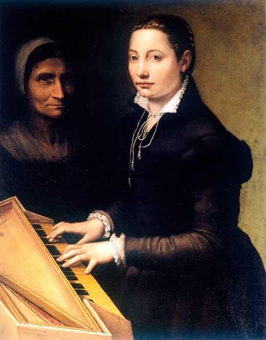 Sofonisba Anguisola, Autorretrato con Espineta (instrumento musical), 1561.