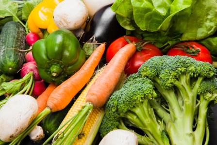 Various fresh vegetables - food waste