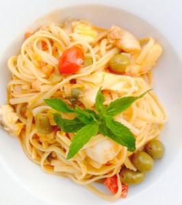 Linguine mit geräuchertem Schwertfisch und Taggascia Oliven