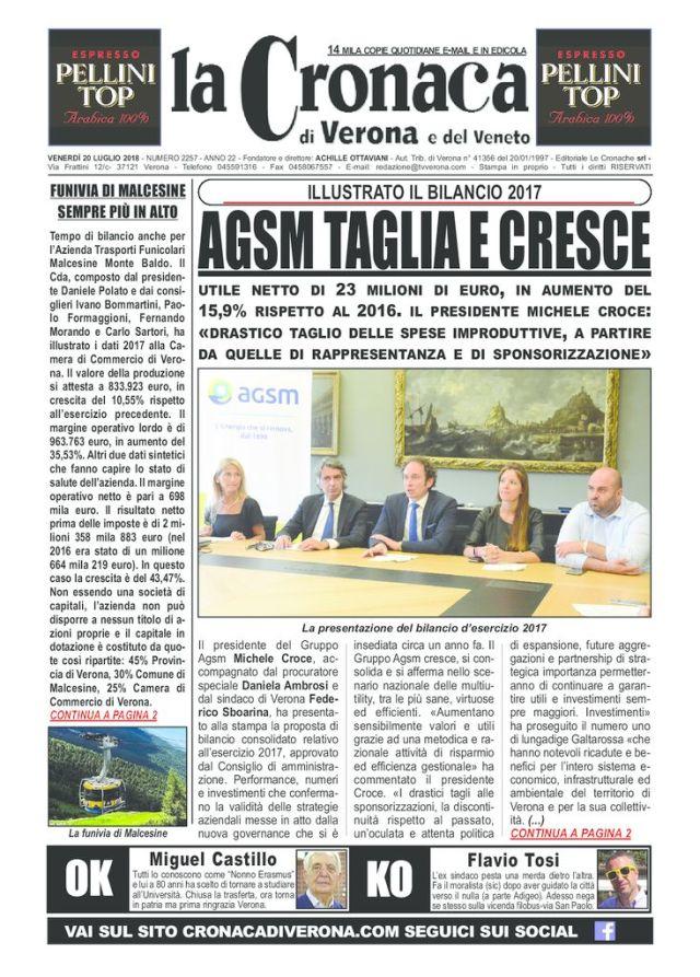 thumbnail of LA CRONACA DI VERONA 20 LUGLIO 2018