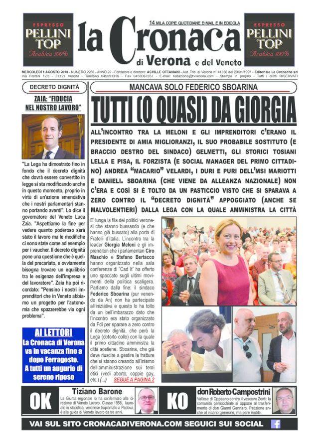 thumbnail of la cronaca di verona 1 agosto 2018