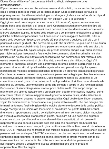 La lettera di addio all'UDC di Mario Cutolo