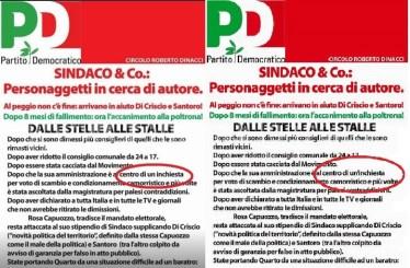"""A sinistra il manifesto corretto, a destra quello """"incriminato"""""""