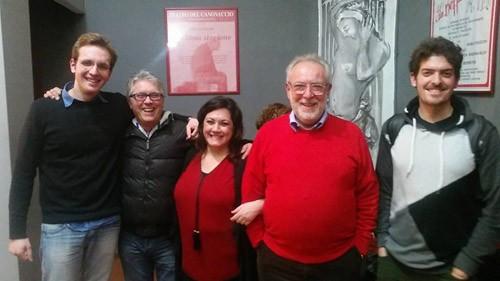 I pratagonisti dello spettacolo: Riccardo Vinciguerra, l'autore Giovanni Coppola, Laura Giordani, Saro Pizzuto e Gabriele Pizzuto