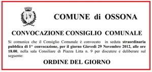 Ossona, il 29 novembre c'è il Consiglio Comunale