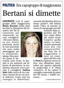 Casorezzo: Marta Bertani dà le dimissioni