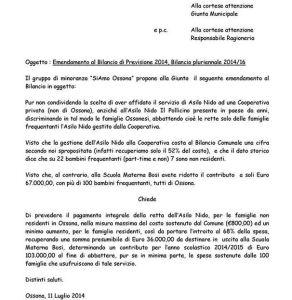 Siamo Ossona, bilancio 2014 asilo nido