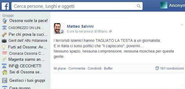 Facebook, Matteo Salvini su James Foley e di Battista
