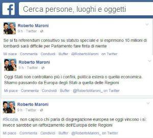 Scozia: Roberto Maroni esclama YES su Facebook