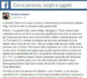 Roberto Maroni ha commentato su Facebook il rapporto 2014 sulla sicurezza del sindacato di polizia