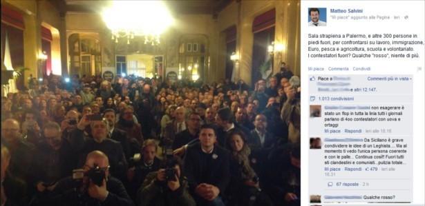 Salvini a Palermo: sala piena, gente in piedi e progetti condivisibili