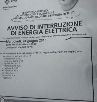 A Casorezzo Enel toglie l'energia mercoledì 24 giugno