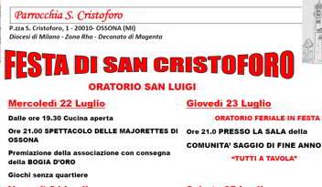 Il programma della festa di San Cristoforo
