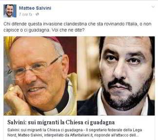 Matteo Salvini su facebok: polemica con Nunzio Galatino