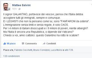 salvini2-e1439424840490 Galantino fa dietro front. Ha vinto Salvini. Ora tocca a Renzi Politica Prima Pagina