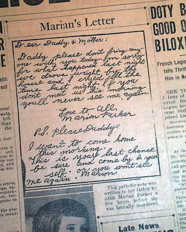 carta secuestro marion parker