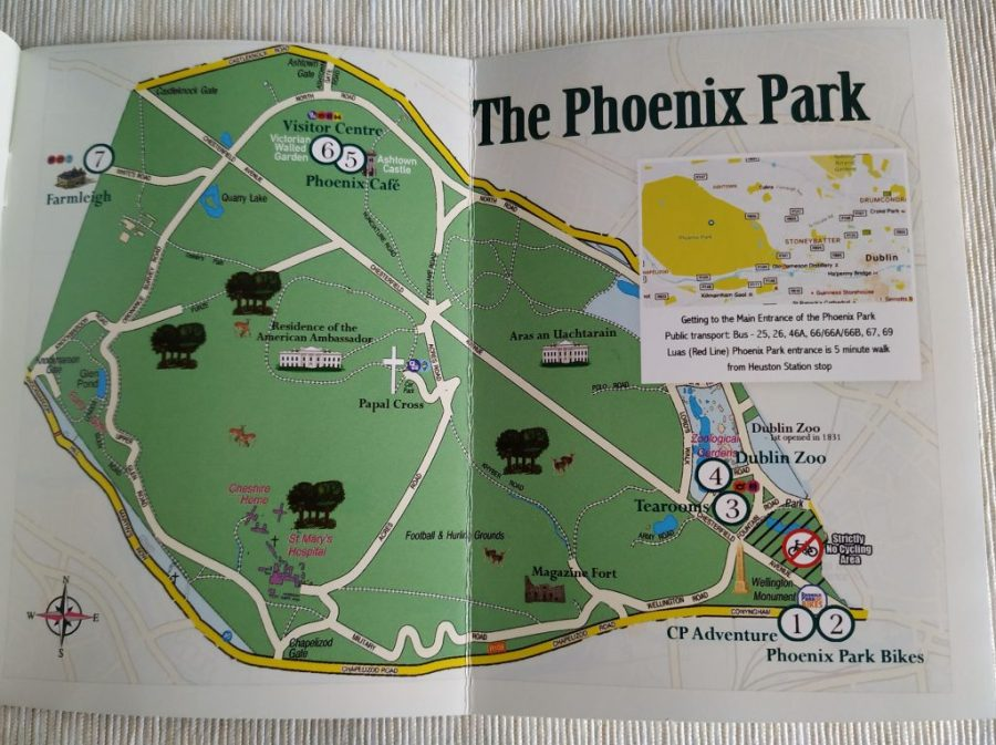 Mapa Phoenix Park en Dublín, Irlanda.