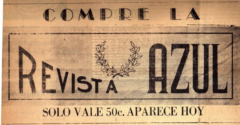 Inserción publicitaria de la Revista Azul, aparecida entre las páginas de La Voz de San Luis. Fotografía: Colección particular de Omar de la Cadena.
