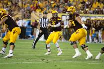 Arizona State quarterback Mike Bercovici drops back and looks for an open teammate. (Photo: Scotty Bara/WCSN)