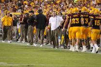 Arizona State head coach Todd Graham on the side lines of the ASU vs. Cal Poly game. (Photo: Scotty Bara/WCSN)