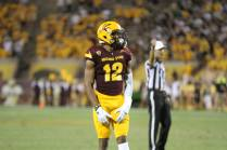 Arizona State wide receiver Tim White lines up for a play. White scored his first touchdown as a Sun Devil in the win over Cal Poly. (Photo: Scotty Bara/WCSN)