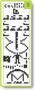 Représentation visuelle du message envoyé par l'homme depuis Arecibo (1974)