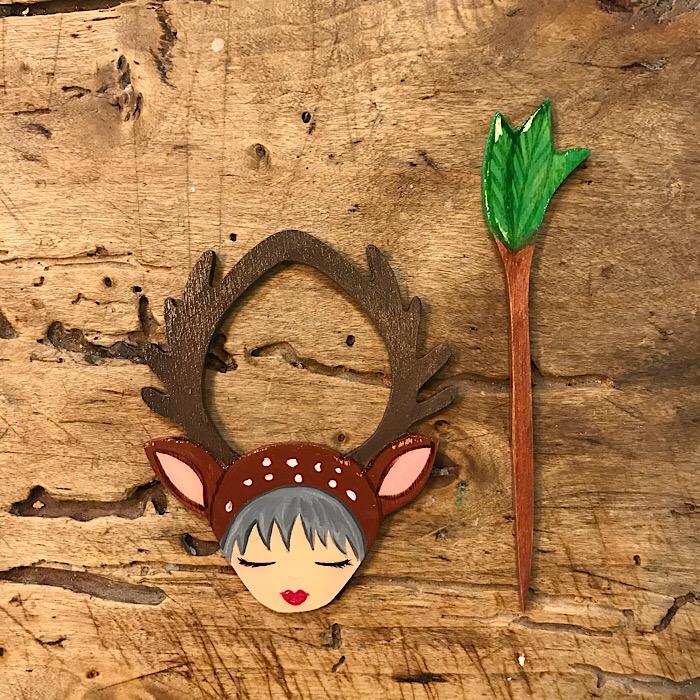 Zoownatas Handmade Wooden Shawl Pins