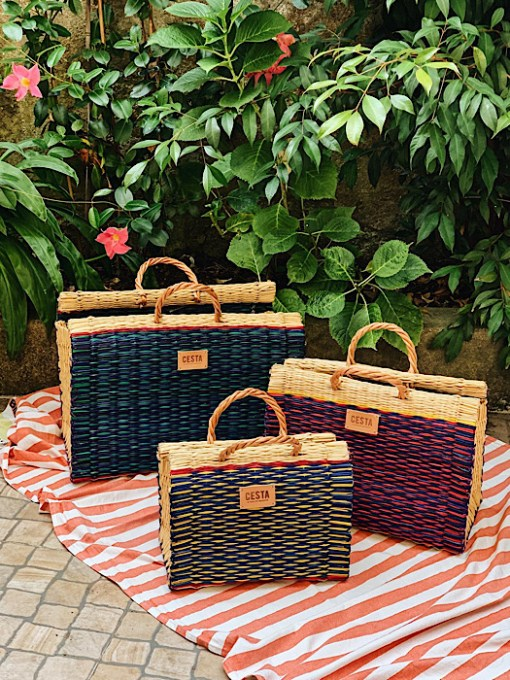 CESTA 3 sizes reed project baskets on floor plants on background