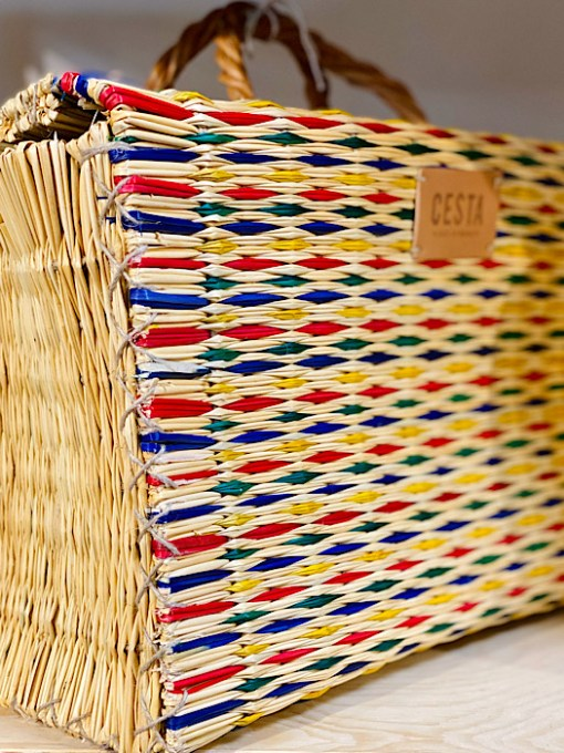 close up of colourful CESTA reed project basket