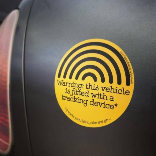 Tilly Flop Designs car bumper sticker - warning-this vehicle is fitted with a tracking device