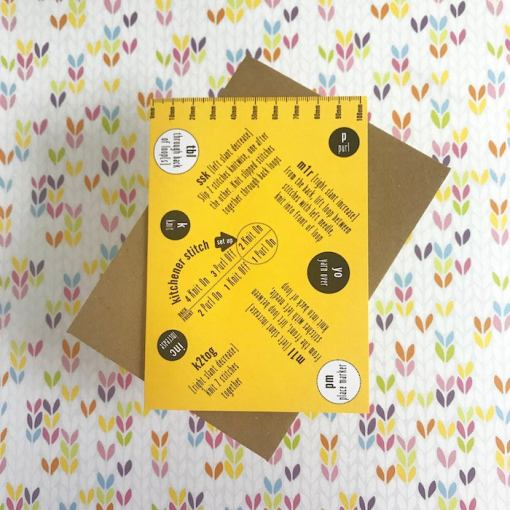 Tilly Flop Designs knitting abbreviation greetings card yellow