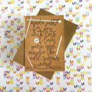 Tilly Flop Handmade yarn gift greeting card - made with love, yarn and the odd swear word kraft