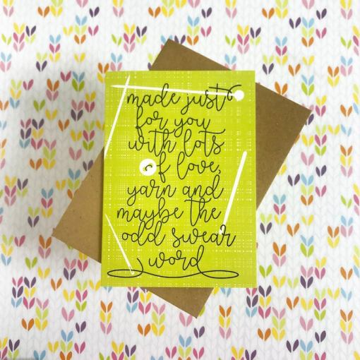 Tilly Flop Handmade yarn gift greeting card - made with love, yarn and the odd swear word green