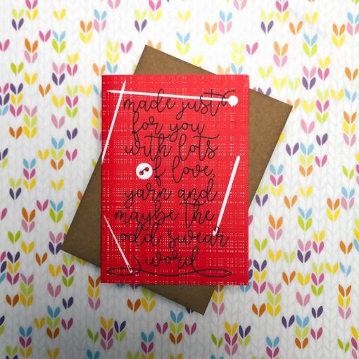 Tilly Flop Handmade yarn gift greeting card - made with love, yarn and the odd swear word red