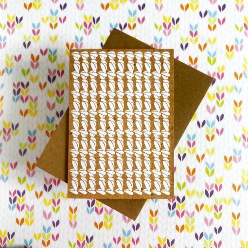 Tilly Flop crochet stitch greeting card white kraft