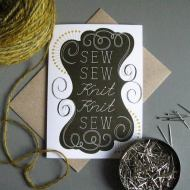 Tilly Flop sew sew knit knit greeting card