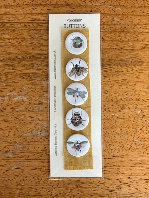 caroline barnes ceramic buttons insects 28mm