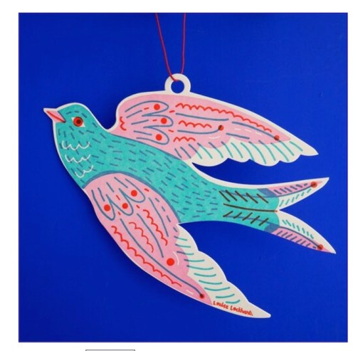 The Printed Peanut Letterpress Paper Cut Out Swallow blue