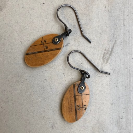 Clare Hillerby Ruler hanging earrings 2