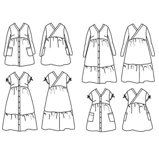 Anna Mum Dress - Ikatee Women Paper Sewing Pattern Views