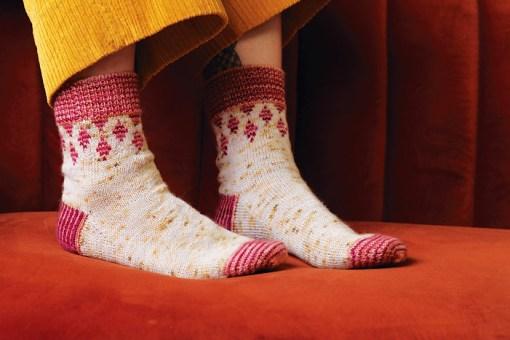 modeling knitted socks Moon and Turtle - Kiyomi & Sachiko Burgin