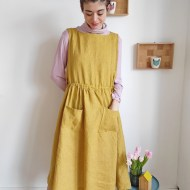 Modeling for Sewing Class: the Apricot Pinafore Dress by Cocowawa Crafts