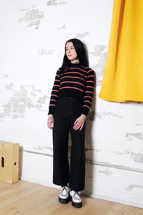 modeling knitwear for Moon and Turtle - Kiyomi & Sachiko Burgin