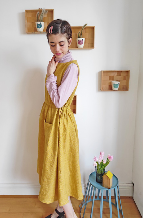 Modeling side for Sewing Class: the Apricot Pinafore Dress by Cocowawa Crafts